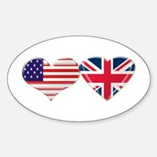 USA and UK Heart Flag Sticker (Oval)