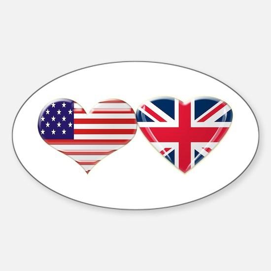 USA and UK Heart Flag Sticker (Oval)