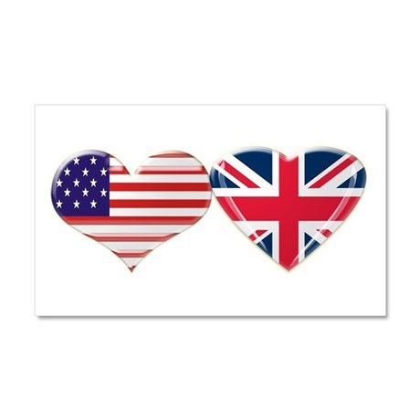 USA and UK Heart Flag Car Magnet 20 x 12