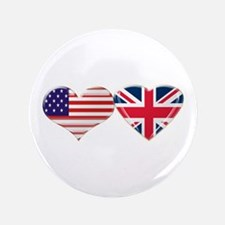 """USA and UK Heart Flag 3.5"""" Button"""
