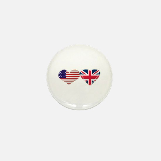 USA and UK Heart Flag Mini Button