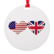 USA and UK Heart Flag Ornament