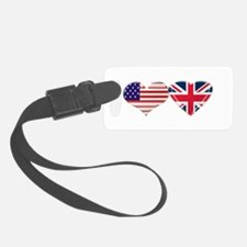 USA and UK Heart Flag Luggage Tag