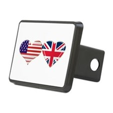 USA and UK Heart Flag Hitch Cover