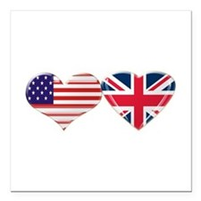 "USA and UK Heart Flag Square Car Magnet 3"" x"