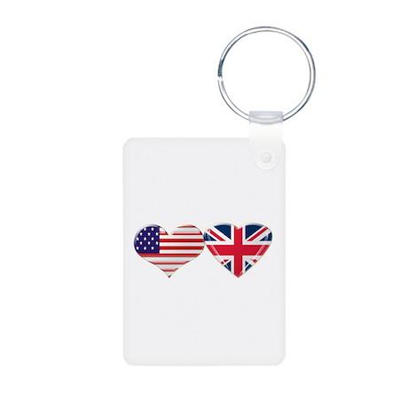 USA and UK Heart Flag Aluminum Photo Keychain