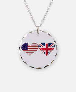 USA and UK Heart Flag Necklace