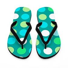 Blue Dots Flip Flops