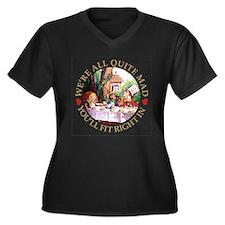 We're All Qu Women's Plus Size V-Neck Dark T-Shirt