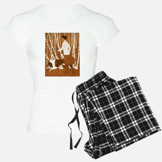THROUGH THE WOODS_CLOCK_BLACKGOLD.png Pajamas
