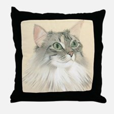 Norwegian Forest Cat Painting Throw Pillow
