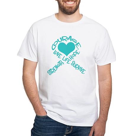 CancerWordRibbonOVARIANDrkT T-Shirt