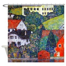 Klimt - Houses Attersee Shower Curtain