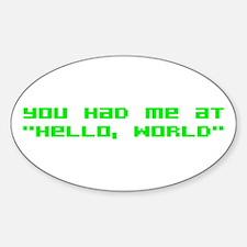 Hello World Sticker (Oval)