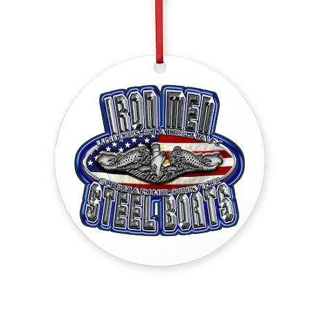 US Navy Submarine Service Iron Men Ornament (Round