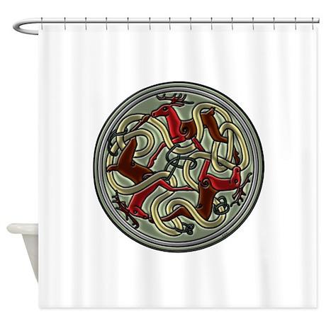 Celtic Deer Knotwork Shower Curtain