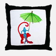 Cocktail Mermaid Monkey Throw Pillow