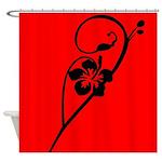 Elegant Black Flower Art Shower Curtain