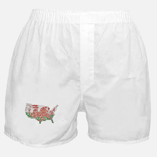 Welsh Place Names USA Map Boxer Shorts