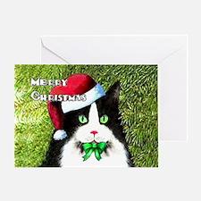 Tuxedo Cat Merry Christmas Greeting Card