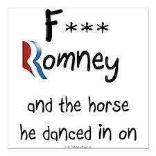 "F Romney Square Car Magnet 3"" x 3"""