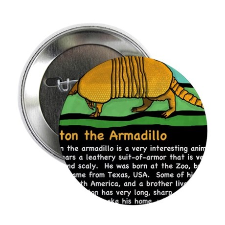 "Anton the Armadillo 2.25"" Button"