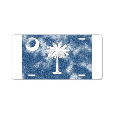 Weathered SC Flag Aluminum License Plate