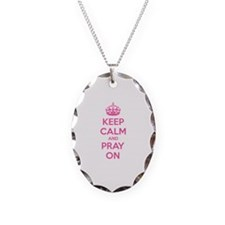 Keep calm and pray on Necklace Oval Charm