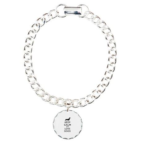 Keep calm and love dogs Charm Bracelet, One Charm