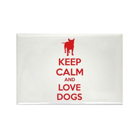 Keep calm and love dogs Rectangle Magnet (100 pack
