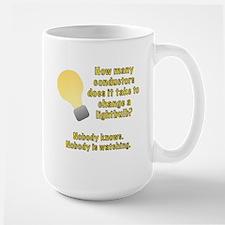Conductor lightbulb joke Large Mug