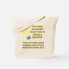 Economist lightbulb joke Tote Bag
