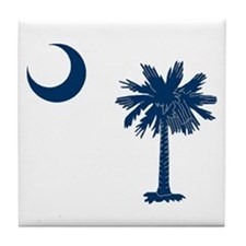 Cute South carolina palmetto tree crescent moon Tile Coaster