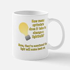 Optimist lightbulb joke Mug