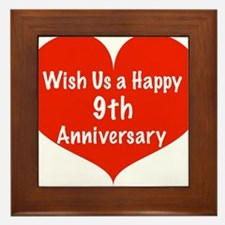 Wish us a Happy 9th Anniversary Framed Tile