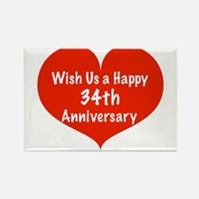 Wish us a Happy 34th Anniversary Rectangle Magnet