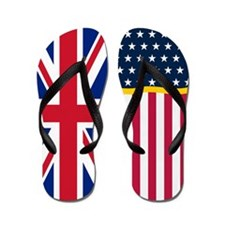 British England Uk American Flag Flip Flops