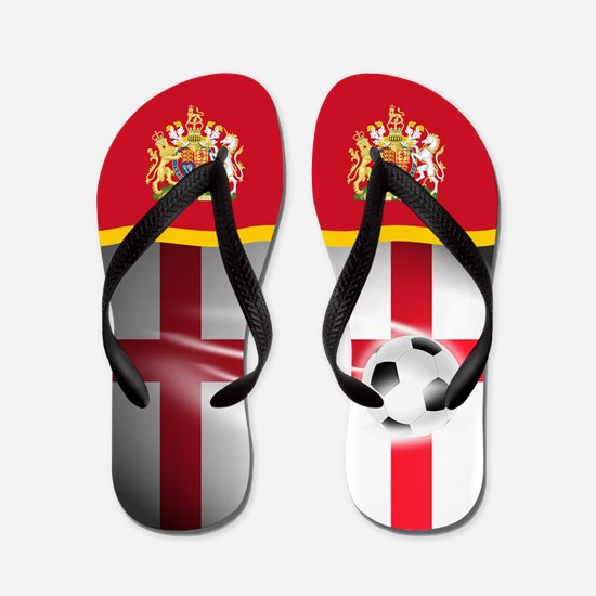 English England Football Soccer Flip Flops