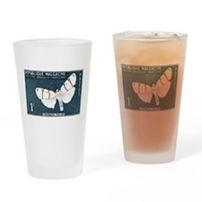 Madagascar Butterfly 1f Stamp 1960 Drinking Glass