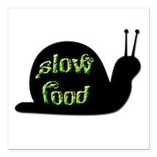 "Slow Food Snail Square Car Magnet 3"" x 3"""
