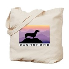 dachshund dog purple mt. Tote Bag