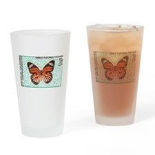New Caledonia Monarch Butterfly Stamp Drinking Gla