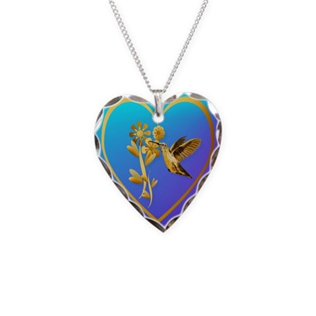 Gold Hummingbird Necklace Heart Charm