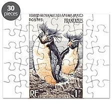 French Antarctica Penguin Stamp 1956 Puzzle