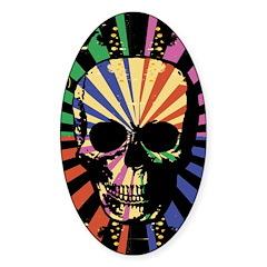 Retro colorful punk gothic skull design Decal