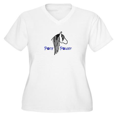 Pony Power Blue Women's Plus Size V-Neck T-Shirt