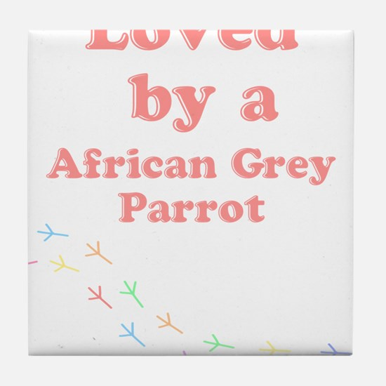 Loved by aAfrican Grey Parrot Tile Coaster