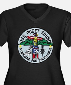 USS PUGET SOUND Women's Plus Size V-Neck Dark T-Sh