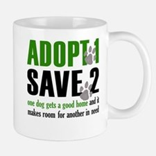 Adopt 1 Save 2 dog lite T.psd Mug