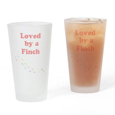 Loved by a Finch Drinking Glass
